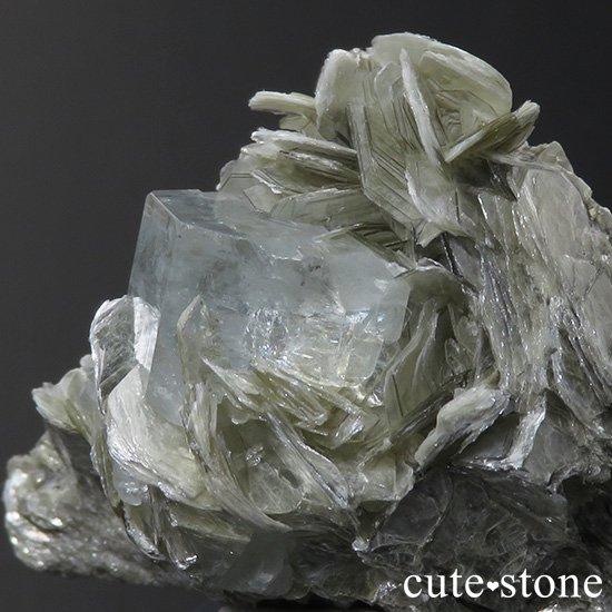 パキスタン産 アクアマリンの母岩付き結晶(原石)31.6gの写真2 cute stone