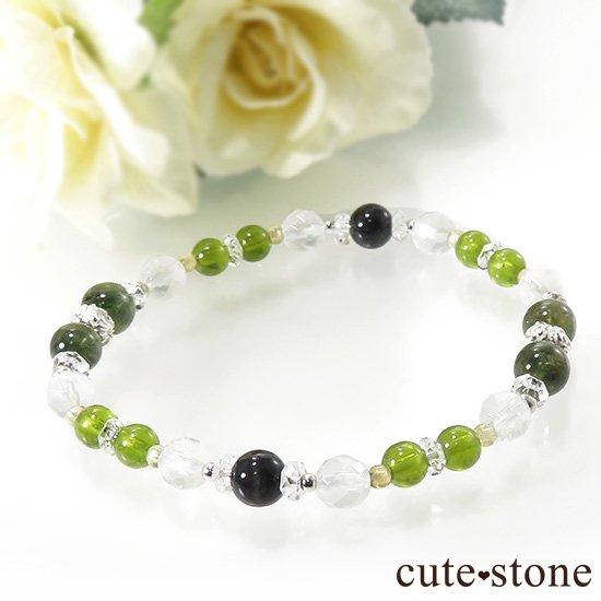 【Green road】 コーネルピン 黒翡翠 グリーンガーネット ミルキークォーツ トルマリンのブレスレットの写真0 cute stone