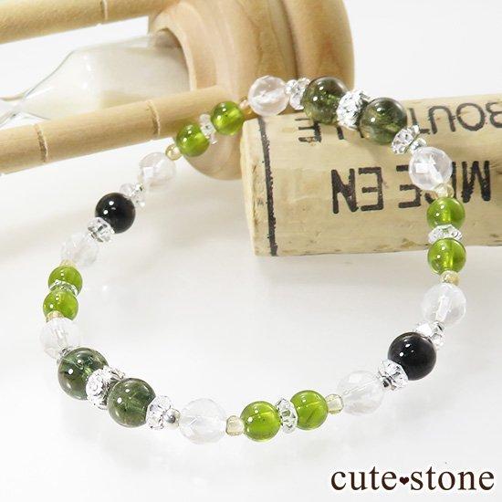 【Green road】 コーネルピン 黒翡翠 グリーンガーネット ミルキークォーツ トルマリンのブレスレットの写真1 cute stone