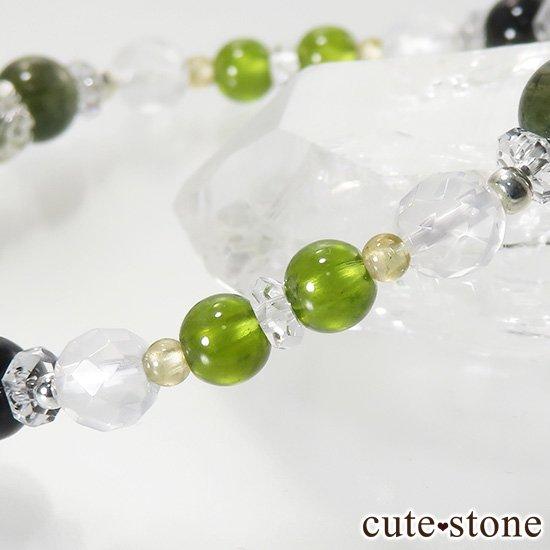 【Green road】 コーネルピン 黒翡翠 グリーンガーネット ミルキークォーツ トルマリンのブレスレットの写真3 cute stone