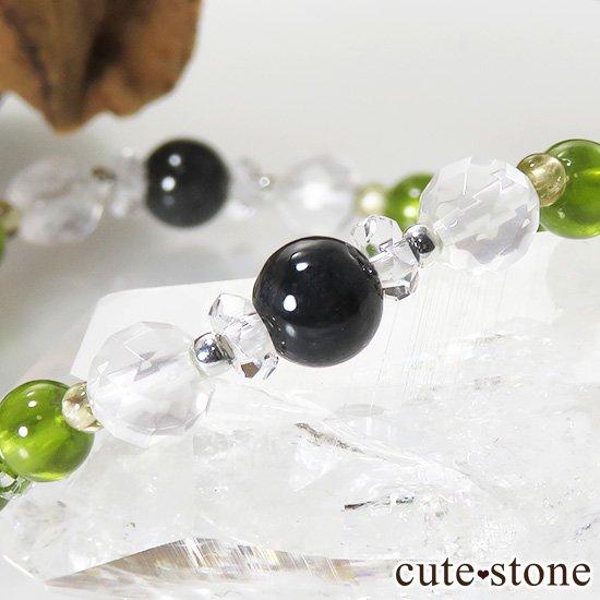 【Green road】 コーネルピン 黒翡翠 グリーンガーネット ミルキークォーツ トルマリンのブレスレットの写真4 cute stone
