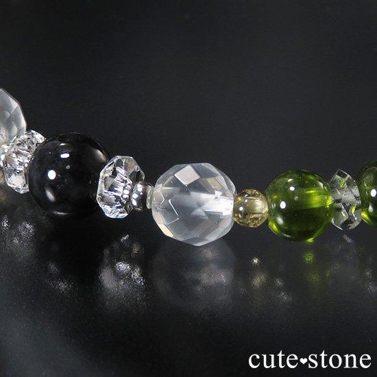 【Green road】 コーネルピン 黒翡翠 グリーンガーネット ミルキークォーツ トルマリンのブレスレットの写真5 cute stone