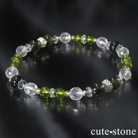 【Green road】 コーネルピン 黒翡翠 グリーンガーネット ミルキークォーツ トルマリンのブレスレットの写真6 cute stone