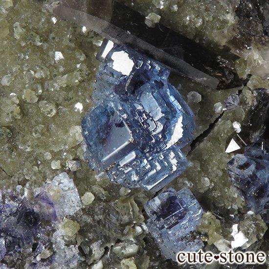中国 湖南省産 ブルーフローライト&モリオンの標本(原石)336gの写真2 cute stone