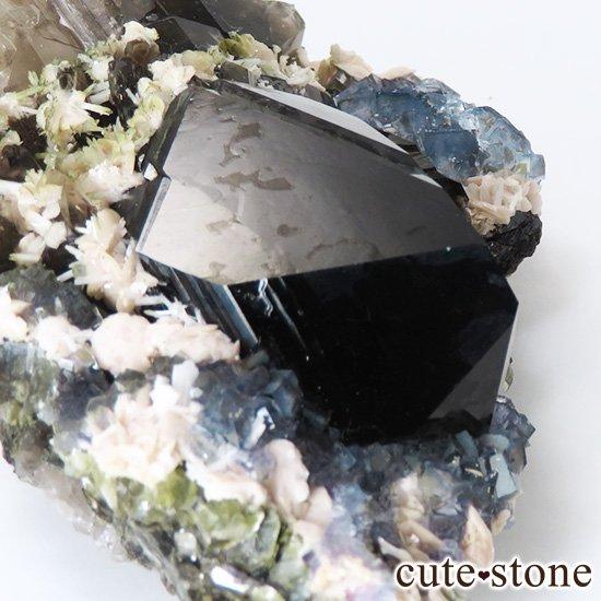 中国 湖南省産 ブルーフローライト&モリオンの標本(原石)153gの写真5 cute stone