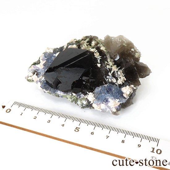 中国 湖南省産 ブルーフローライト&モリオンの標本(原石)153gの写真6 cute stone