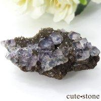 ヤオガンシャン産 カラーレス×ブルーグリーンフローライトの結晶(原石)46gの画像