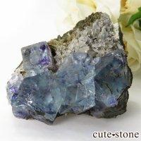 中国 内モンゴル産 ブルーフローライトの母岩付き結晶(原石) 75gの画像