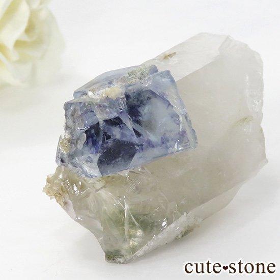 ヤオガンシャン産 フローライト(蛍石) &水晶の共生標本 58gの写真0 cute stone
