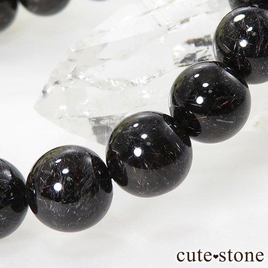 【1/2売り対象】 ブラックルチルインクォーツのシンプルブレスレット 10mmの写真1 cute stone