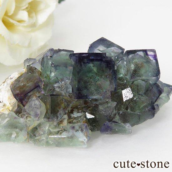 ナミビア産ブルー×グリーンフローライトの原石 49gの写真2 cute stone