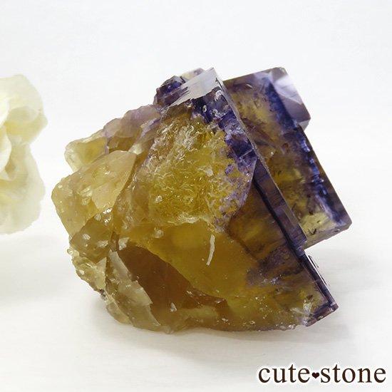 イリノイ州Denton Mine産 パープル×イエローフローライト(蛍石)の原石 264gの写真1 cute stone