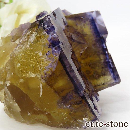イリノイ州Denton Mine産 パープル×イエローフローライト(蛍石)の原石 264gの写真4 cute stone