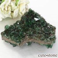 イングランド ダイアナマリア鉱山産 蛍光フローライトの母岩付き結晶(原石)156gの画像