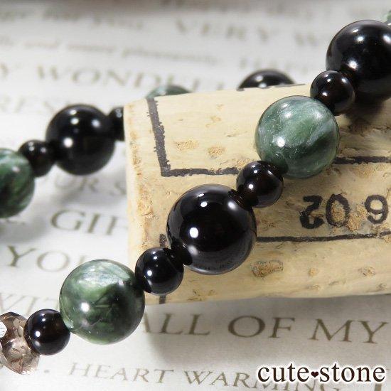 【Cross Wing】 セラフィナイト モリオン スモーキークォーツのブレスレットの写真3 cute stone