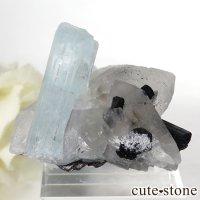 パキスタン スカルドゥ産 アクアマリン&水晶&ブラックトルマリン 26.3gの画像