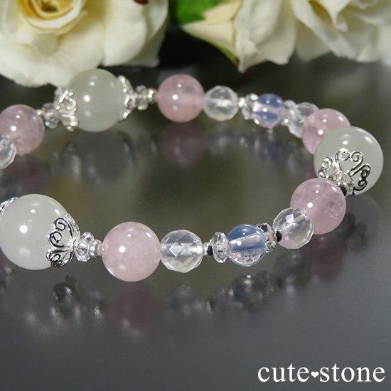 【春の訪れ】 翡翠 モルガナイト スコロライト ミルキークォーツのブレスレットの写真4 cute stone