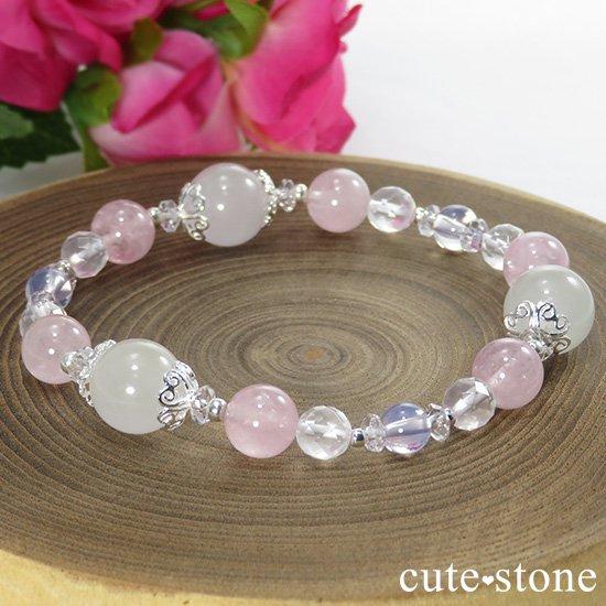 【春の訪れ】 翡翠 モルガナイト スコロライト ミルキークォーツのブレスレットの写真5 cute stone
