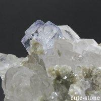 ヤオガンシャン産 ブルーフローライト&水晶の共生標本 154gの画像