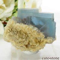 イタリア シチリア島(シシリー)産 ブルーフローライトの母岩付き結晶(原石) 57gの画像