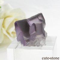 中国 雲南省産 パープル&グレーフローライトの結晶(原石) 8.6gの画像