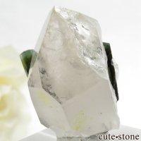 パキスタン産 バイカラートルマリン&水晶の共生標本(原石)19.6gの画像