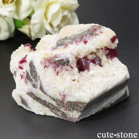 辰砂(シンシャ)シナバーの母岩付き原石 128gの写真4 cute stone