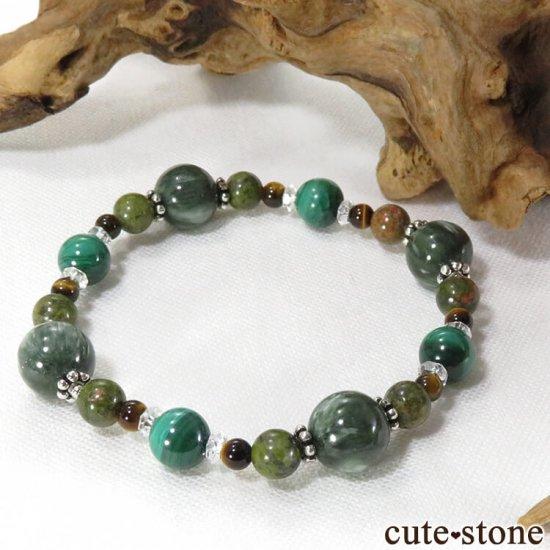 【Green road】 セラフィナイト マラカイト ユナカイト タイガーアイ 水晶のブレスレットの写真0 cute stone