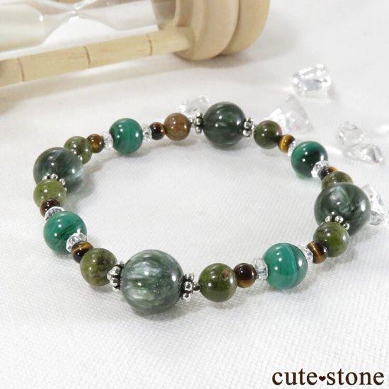 【Green road】 セラフィナイト マラカイト ユナカイト タイガーアイ 水晶のブレスレットの写真1 cute stone