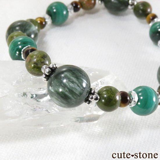 【Green road】 セラフィナイト マラカイト ユナカイト タイガーアイ 水晶のブレスレットの写真2 cute stone