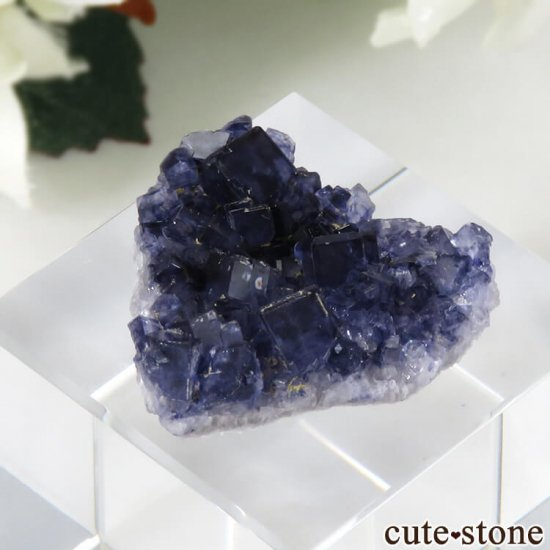アイルランド Larkin's Quarry産 ブルーフローライトのハート型クラスター(原石)4.9gの写真1 cute stone