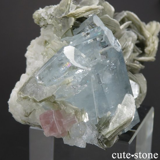 パキスタン産 アクアマリン&ピンクアパタイトの原石 65.7gの写真0 cute stone