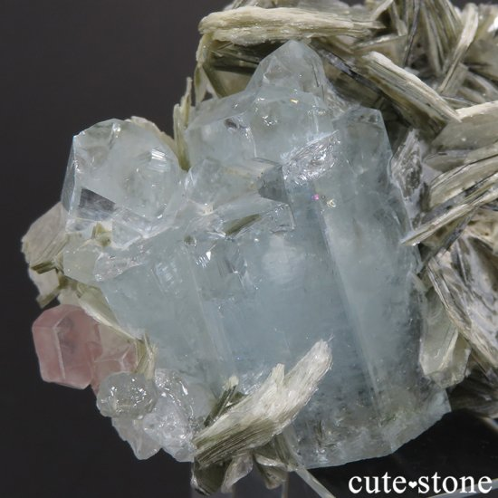 パキスタン産 アクアマリン&ピンクアパタイトの原石 65.7gの写真2 cute stone