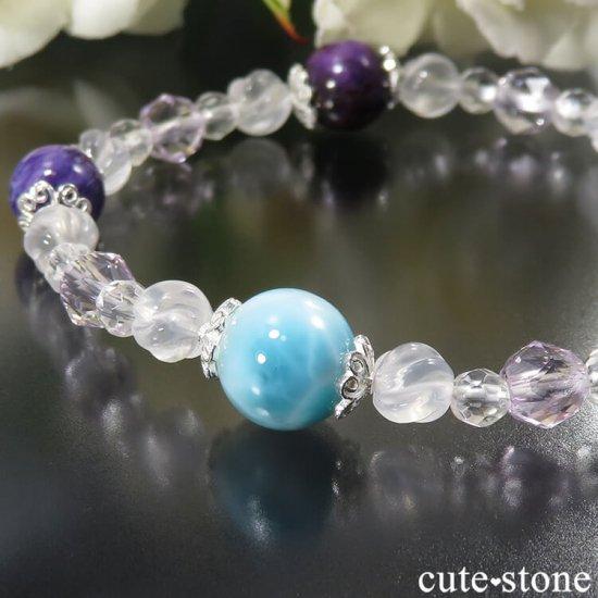 【癒しのリング】 ラリマー チャロアイト スギライト ラベンダーアメジスト ミルキークォーツ 水晶のブレスレットの写真1 cute stone