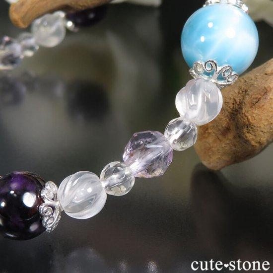【癒しのリング】 ラリマー チャロアイト スギライト ラベンダーアメジスト ミルキークォーツ 水晶のブレスレットの写真4 cute stone