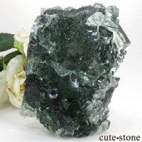 中国 Xianghualing Mine産 グリーンフローライトの母岩付き結晶(原石)365gの画像