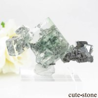 中国 Xianghualing Mine産 グリーンフローライトの母岩付き結晶(原石)11.1gの画像