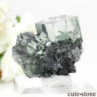 中国 Xianghualing Mine産 グリーンフローライトの母岩付き結晶(原石)16.7gの画像
