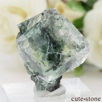 中国 Xianghualing Mine産 グリーンフローライトの母岩付き結晶(原石)14.6gの画像