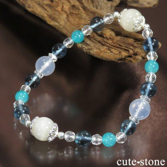 【汀の月】 ホワイトクォーツキャッツアイ K2ムーンクォーツ ブルーフローライト アイスアマゾナイト 水晶のブレスレットの写真0 cute stone
