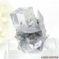 中国 Xianghualing Mine産 グリーンフローライト&カルサイトの母岩付き結晶(原石)7.1gの画像