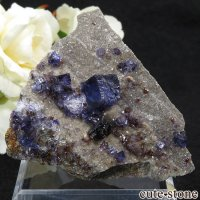 アメリカ エルムウッド鉱山産 パープルブルーフローライト&スファレライトの原石 100gの画像