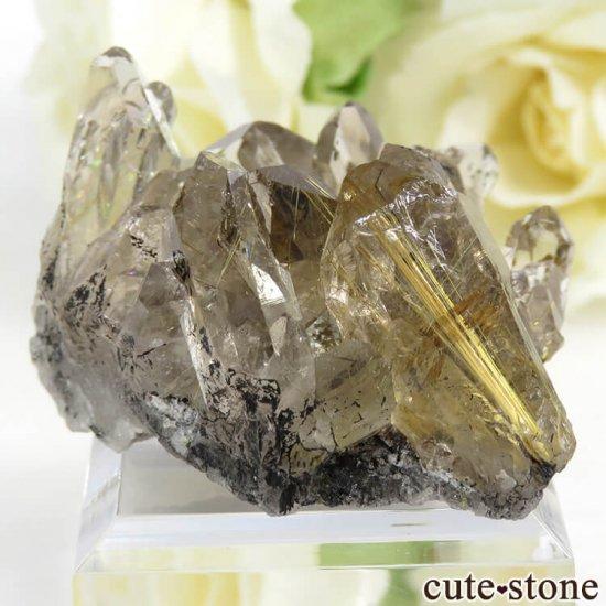 ブラジル バイーア州産 ルチルインクォーツの原石(クラスター)27.7gの写真0 cute stone