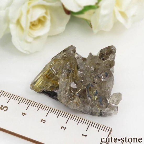 ブラジル バイーア州産 ルチルインクォーツの原石(クラスター)27.7gの写真6 cute stone