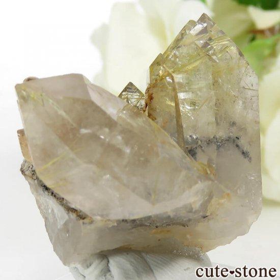 ブラジル バイーア州産 ルチルインクォーツの原石(クラスター)28.6gの写真1 cute stone