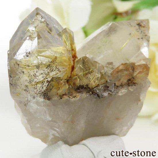 ブラジル バイーア州産 ルチルインクォーツの原石(クラスター)28.6gの写真3 cute stone