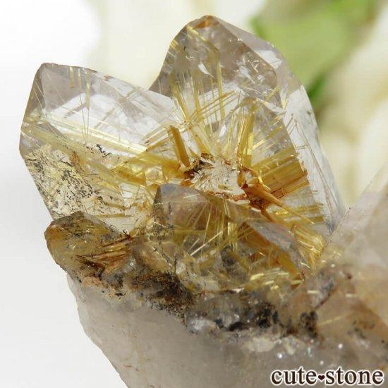 ブラジル バイーア州産 ルチルインクォーツの原石(クラスター)28.6gの写真5 cute stone