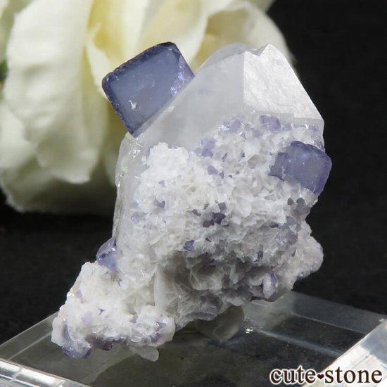 ヤオガンシャン産 ブルーフローライト&クォーツの原石 11.8gの写真2 cute stone