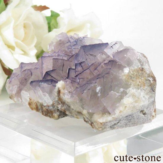 貴州省産 パープルフローライトのクラスター(原石)65gの写真0 cute stone
