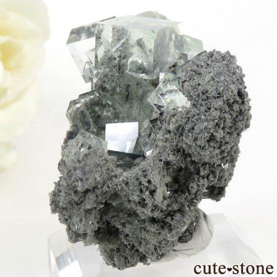 中国 Xianghualing Mine産 グリーンフローライトの母岩付き結晶(原石) 31gの写真3 cute stone